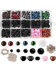Seguridad Ojos de Plastic,560 piezas Ojos de Muñeca de Plástico,Hacer Muñecas Ojos,Coloridos Vistoso Ojos,DIY Ojos de Seguridad Negro,Manualidades Ojos,Vistoso Ojos de Seguridad Ojos (A)