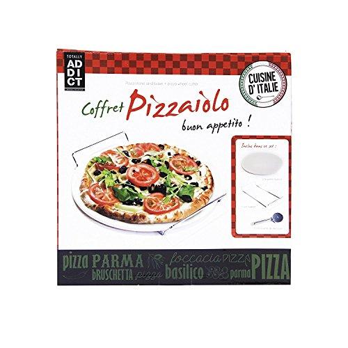 Coffret Pierre à Pizza avec roulette et support - Cuisine Cadeau Italie - 709