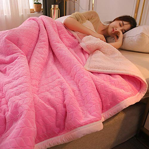 ROZIA Manta Gruesa de Franela de Terciopelo de Cordero de Tres Capas para otoño e Invierno Manta cálida Manta acolchada-10_El 150cm * 200cm