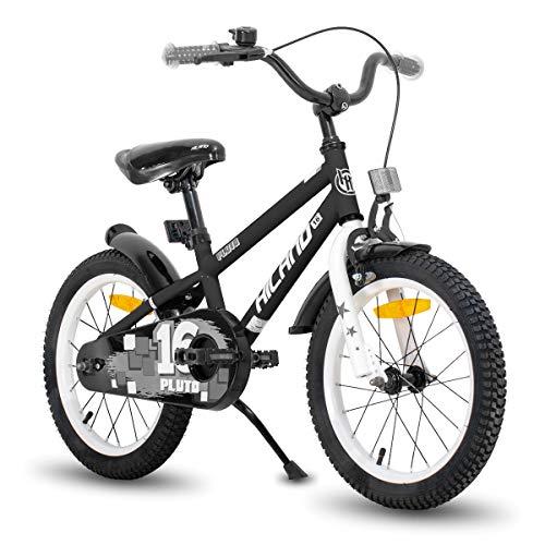 HILAND Pluto - Bicicleta infantil de 14 pulgadas, 16 pulgadas, para niños de 3 a 8 años, con ruedas de apoyo, freno de mano y freno de contrapedal, color negro