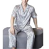 LZJDS Pijamas De Seda Pesada para Hombres Pjs De Manga Corta De Verano Traje De Dos Piezas 100% De Seda Servicio A Domicilio Ropa De Dormir,Y6,M