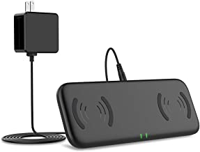 Yootech Dual Fast Wireless Charger with Cooling Fan, 4 Coils Double 10W Max Wireless Charging Pad with Adapter,Compatible with iPhone 11/11 Pro/11 Pro Max/Xs MAX/XR/Xs,Galaxy Note 10/Note 10 Plus/S10E