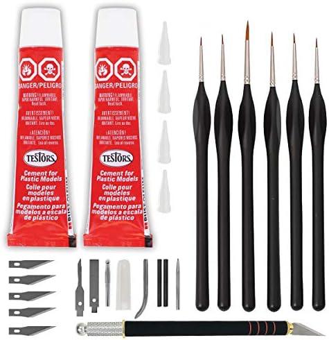 Testors Cement Plastic Model Glue Adhesive 2 Pack 6 Fine Detail Miniatures Paint Brushes Precision product image