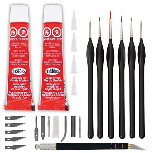 Testors Cement Plastic Model Glue Adhesive 2-Pack, 6 Fine Detail Miniatures Paint Brushes, Precision Crafting Knife with Extra Blades and Tips