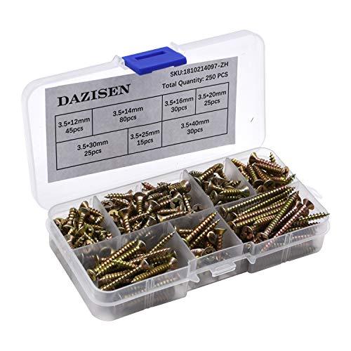 DAZISEN Tornillos de Madera Avellanada Surtido Kit - M3.5 M4 M5 Tornillo Autoroscantes con Caja de Almacenamiento, Estilo A (250 piezas)