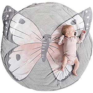 USTIDE Baby Rugs, Creeping Crawling Mat, Cartoon Sleeping Rugs, Nursery Rug for Baby Girl, Children Anti-Slip Game Mat Cotton Floor Play Mat Blanket Play Carpet Kids Room Decor 37.4 x 37.4 (Butterfly)