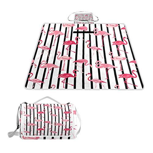 TIZORAX Picknickdecke mit rosa Flamingo-Streifen, wasserfest, für den Außenbereich, faltbar, Picknick, praktische Matte für Strand, Camping, Wandern