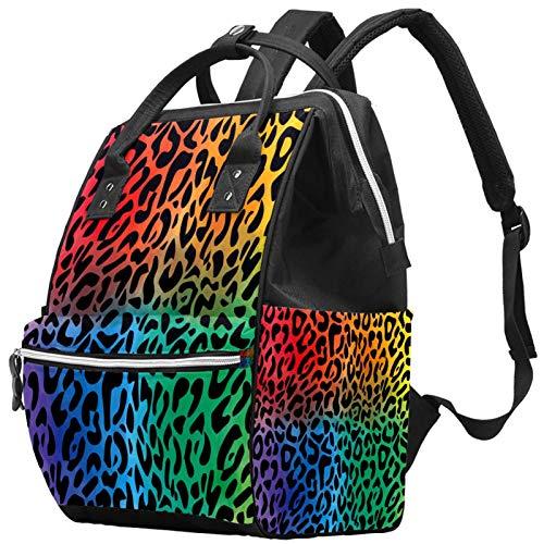 Zaino multifunzione per il tempo libero, da viaggio, con motivo leopardo, rosso, giallo, viola, verde, con cinturino regolabile, per uomini, donne, ragazze e ragazzi