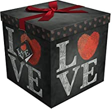 Gift Box 12x12x12 Amrita Love Pop up in Seconds comes with Decorative Ribbon mounted on the lid A Gift Tag and Tissue Paper - No Glue or Tape Required