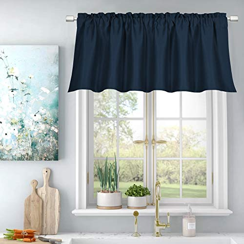 All Seasons Navy Room Darkening Curtain Valance for Living Room Energy Efficient Durability Rod Pocket Topper Small Curtain 18 Inch Valance,Each is 52X18,Navy Blue,Sold as 1 Panel