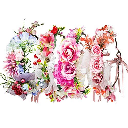 Multicolore Fasce Corona di Fiori Ghirlanda – ZWOOS 4 Pezzi Fasce del Fiori con Il Nastro Elastico Regolabile per Matrimonio e Festa (#11, Grande Fiore)