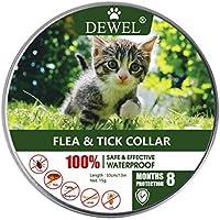 DEWEL Collar Antiparasitos para Perro,Gato Pequeño Mediano Grandes contra Pulgas, Garrapatas y Mosquitos, 8 Meses (para Gatos)