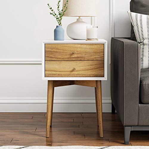 Lowest Price! Nathan James Harper Mid-Century Side Table, 2-Drawer Wood Nightstand, Frame, White/Bro...