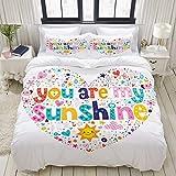 MOBEITI Cita Motivacional de Sunshine en Forma de corazón con Estrellas Circle Sun Cloud Infant Design,Juego de Ropa de Cama con Funda nórdica de Microfibra y 2 Funda de Almohada - 220 x 240 cm