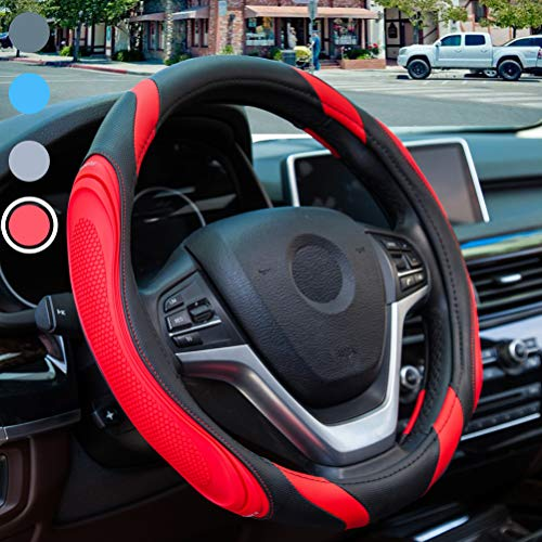 ELZO Car Steering Wheel Cover Genuine Leather Universal 14.5-15 Inch//37-38CM Breathable Anti-Slip Wheel Sleeve Protector for Auto//Truck//SUV//Van Black/&Red