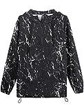 TATT 21 Men's Printed Hoodies Paint Splatter Pattern Windbreaker Pullover Half Zip Hooded Black White XLarge
