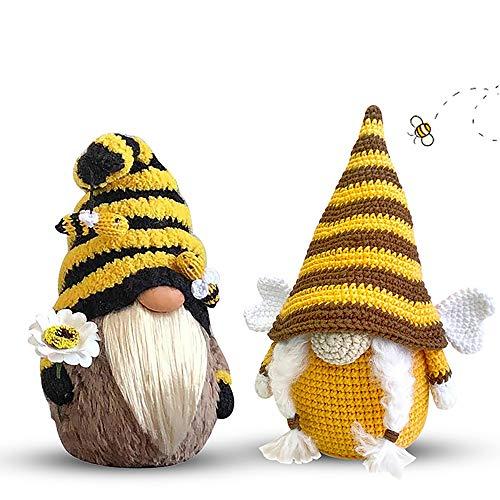 2pcs Biene Festival Bumble Bee Gestreift Gnome Plüsch Gesichtslose Puppe, Frühling Sonnenblume Biene Puppe Skandinavischen Tomte Nisse Schwedischen Honig Biene Elfen Home Decoration Dekor Ornamente