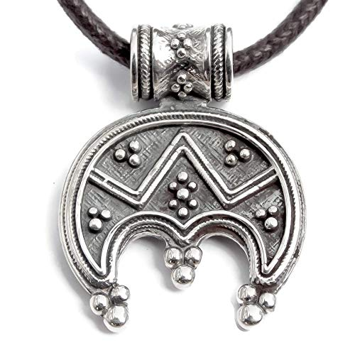 Celtic Crescent Moon Pendant Necklace-925 Sterling Silver-Viking Norse Jewelry for Women-Ancient Female Symbol of Feminity and Fertility-Pagan Slavic Womens Protective Amulet Lunula-Mother's Day Gift
