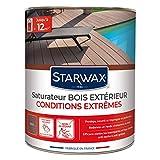 STARWAX Saturateur haute protection pour terrasses en bois teinte teck 1L - Nourrit et protège le bois
