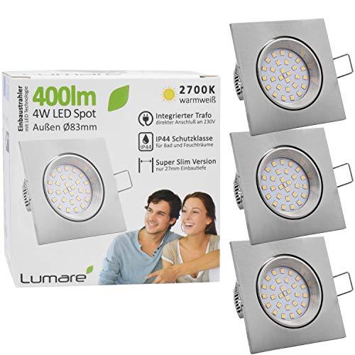 3x Lumare LED Einbaustrahler 4W 400 Lumen IP44 nur 27mm extra flach Einbautiefe LED Leuchtmodul austauschbar Deckenspot AC 230V 120° Deckenlampe Einbauspot warmweiß silber eckig Badezimmer