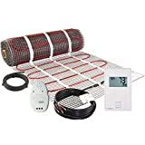 LuxHeat 200 Sqft Mat Kit (240v) Electric Radiant Floor heating System for Under Tile & Laminate. Underfloor Heating Kit Includes Heat Mat, Alarm & OJ Microline Non Programmable Thermostat with GFCI