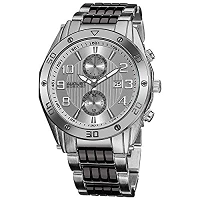 August Steiner Men's Swiss Multi-Function Watch - 2 Subdials for Month and GMT with Date Window On Stainless Steel Bracelet - AS8070