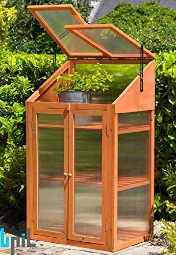 BPIL NATURAL WOODEN GREENHOUSE POLY-CARBONATED TRANSPARENT GLAZING 4.0MM THICKNESS DIMENSION: H120×W69×D51CM
