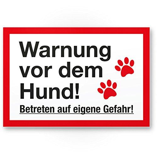 Komma Security Warnung Hund - Betreten eigene Gefahr - Hunde Kunststoff Schild Hinweisschild Gartentor Gartenzaun - Türschild Haustüre Warnschild Abschreckung Einbruchschutz - Achtung Hund