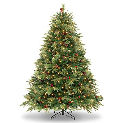 WBHome 6 Feet Luxurious Premium Spruce Hinged Artificial Christmas Tree, 792 Branch Tips with Pine Cones,Prelit 6FT