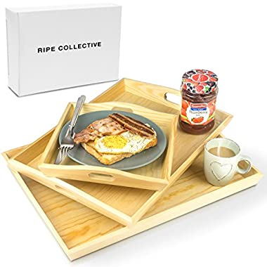 Wood Serving Tray - Set of 3 - Wooden Serving Trays - Breakfast in Bed - Platter For Food Drink Eating Coffee Dinner and Meal - Butler Lap Trays with Handles - Small Medium and Large Sizes - 100% Wood