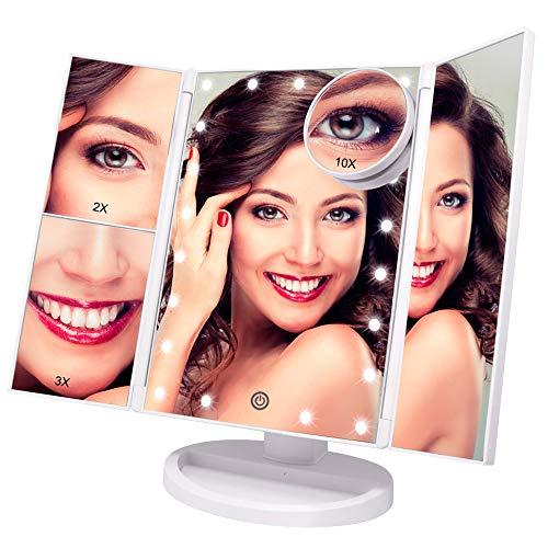 Beleuchteter Schminkspiegel - mit 10X 3X 2X Vergrößerung, dreifach gefaltetem Spiegel mit Lichtern, Touchscreen-Schalter, um 180° verstellbarem Ständer, doppeltem Netzteil, Tischspiegel (weiß)