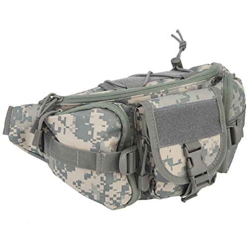 OLEADER Tactical Waist Pack Military Fanny Packs Hip Belt bag Pouch Tool Organizer for Outdoor Hiking Climbing Fishing Hunting Bum Bag (Gray Camo)