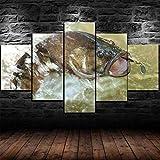 Cuadro En Lienzo, Imagen Impresión, Pintura Decoración, Cuadro Moderno En Lienzo 5 Piezas Xxl,125X60Cm,Cebo De Señuelo De Pesca De Lubina Murales...