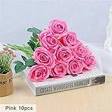 Taoke Lot de 10 bouquets de fleurs artificielles pour décoration de salle de bain Rose dongdong rose bonbon