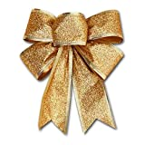 Modonghua Christmas Ribbon Bows Ornaments, Xmas Tree Bowknot Decoration, Large Christmas Bows Xmas Decorative Bows for Home Ornament Decoration, Christmas Party(9.5 x 8 inch)