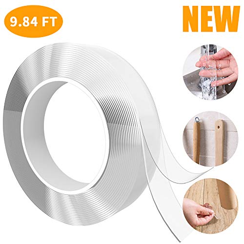 Felicigeely Washable Adhesive Tape, Traceless Gel Nano Tape Multifunction Clear Double-Sided Removable Tape for Paste Photos and Posters, Fix Carpet Mats, Paste Items Etc (3M (9.84ft))