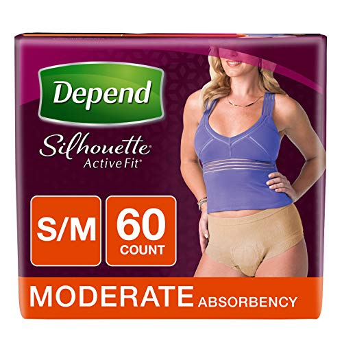 Depend Silhouette Active Fit Incontinence Underwear for Women, Moderate Absorbency, Disposable, S/M, Beige, 60 Count