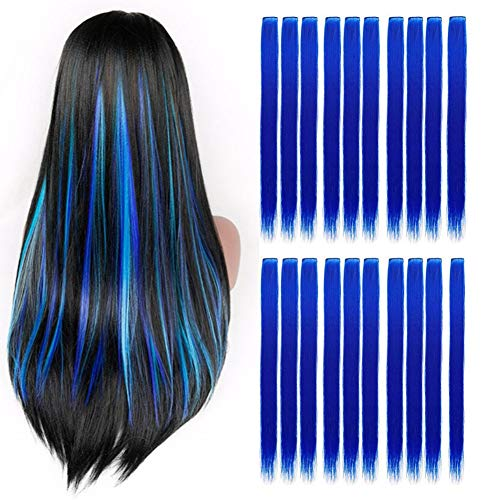 Wiysday 20PCS Colored Clip in Hair Extensions Kid Hair Extensions 22'' Straight Hair Extensions Clip in for Kids Multi-Colors Party Highlights Hairpieces. (Blue)