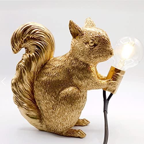 Luz De Escritorio, Creativa Cuarto Sala Lámpara De Noche Mini Animal Lámpara De Mesa Ardilla Resina Fuente De Luz E12 / G40 (sin Bombilla) Dorado/Blanco/Negro