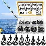 Kit Anillas Pesca Acero Inoxidable y Cerámica Anillos Guías para Cañas de Reparación Pescar para Todas Cañas Agua Dulce y del Mar(8 Tamaños)
