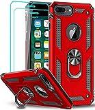 LeYi Funda para iPhone 8 Plus/iPhone 7 Plus/iPhone 6 Plus / 6S Plus con [2-Unidades] Cristal Vidrio Templado, Armor Carcasa con 360 Anillo Soporte PC Silicona TPU Bumper Antigolpes Case, Rojo