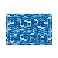 HiYash ベクターグラフィックスの装飾ブルー六角バスラグノンスリップフロア玄関屋外屋内フロントドアマット、15.7x23.6inバスマット
