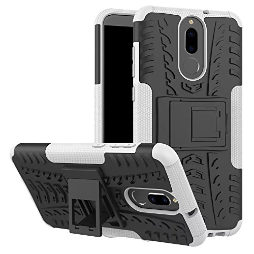 GOGME Funda para Huawei Mate 10 Lite, Armadura Híbrida Plegable Case, Blanco