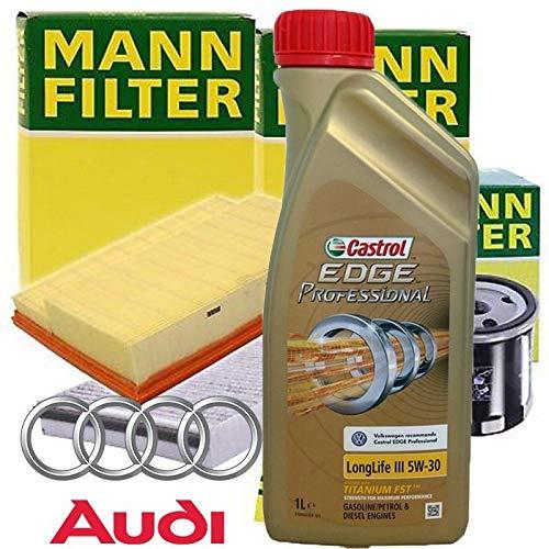 Tecneco Kit Huile Moteur 5 l cASTROL Edge Professional LL 03 5 W-30 + filtres Mann Filter – Audi A4 (8 K, B8) 2.7 tdi| 07-