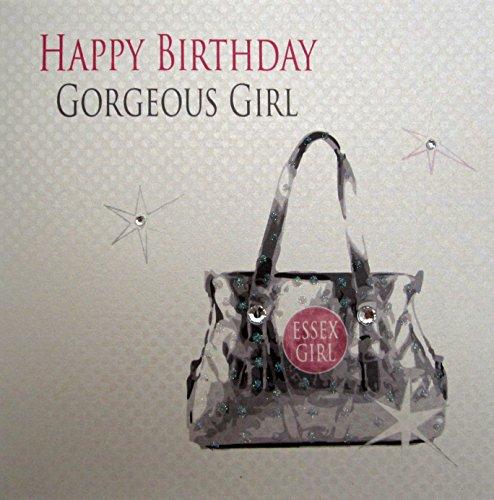 Witte katoenen kaart Happy Birthday Gorgeous meisje handtas met eetex meisje