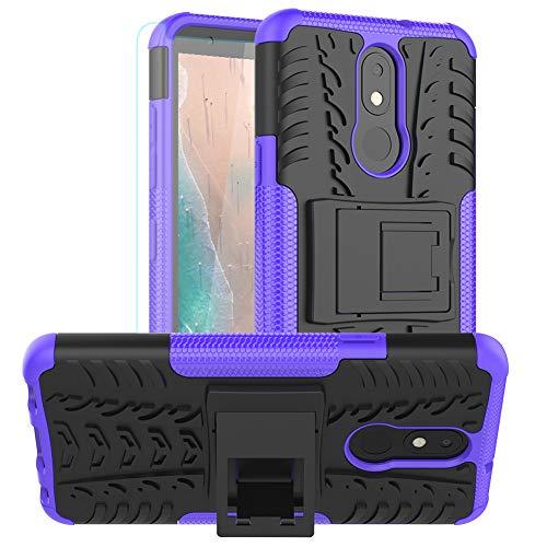 LG Aristo 4 Plus mit HD-Bildschirmschutzfolie, Prime 2 Tribute Royal/Escape Plus/Arena Journey LTE, zweilagiger Schutz für 4+, Schutzhülle Standfunktion, Violett