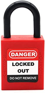 Safety Padlock red, Engineering Plastic Insulated Padlock Security Lock Label Lock Loto Energy Isolation Lock 2 Unique Key + Bottom Waterproof Cover