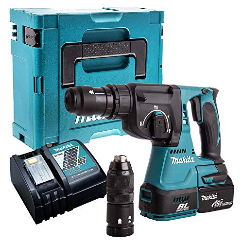 Makita DHR243Z 18V Brushless SDS+ Rotary Hammer with 1 x 5.0Ah Battery, Charger & Case