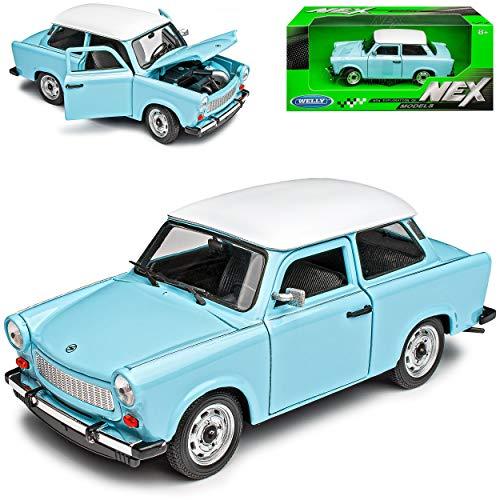 Welly Trabant 601 Limousine Blau mit Weißem Dach 1/24 Modell Auto mit individiuellem Wunschkennzeichen