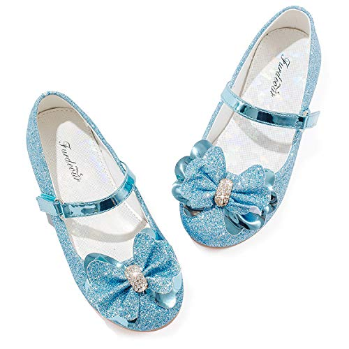 Glitter Mary Jane Shoes for Girls Toddler Flower Girl Shoes Ekidsbridal 6t Size 9 Sequins Party Dress Flat Princess Shoes for Girls Flower Wedding Formal Platform Casual Shoes (Blue 9)